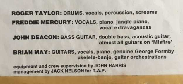 Freddie Mercury is listed as contributing 'vocal extravaganzas' on the album